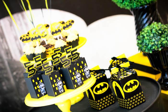 Favor boxes from a Batman Birthday Party on Kara's Party Ideas | KarasPartyIdeas.com (16)