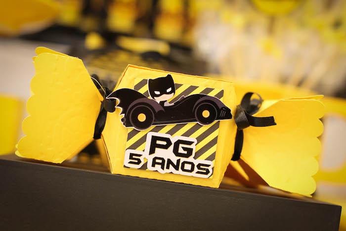 Batmobile favor box from a Batman Birthday Party on Kara's Party Ideas | KarasPartyIdeas.com (10)