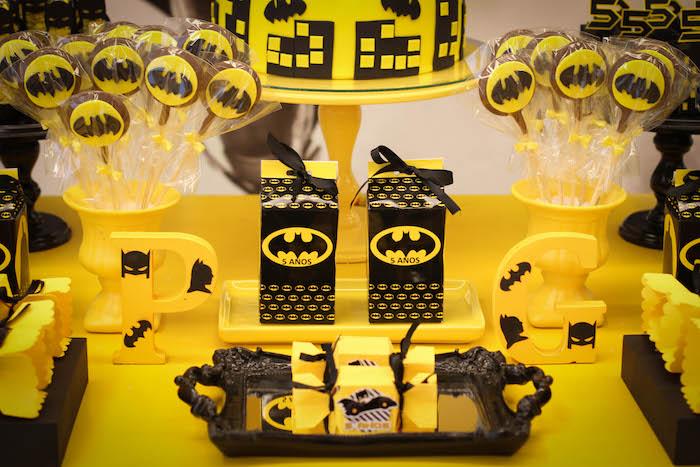Sweet table details from a Batman Birthday Party on Kara's Party Ideas | KarasPartyIdeas.com (9)