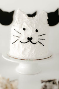 Kitty cat cake from a Black & White Kitty Birthday Party on Kara's Party Ideas | KarasPartyIdeas.com (21)