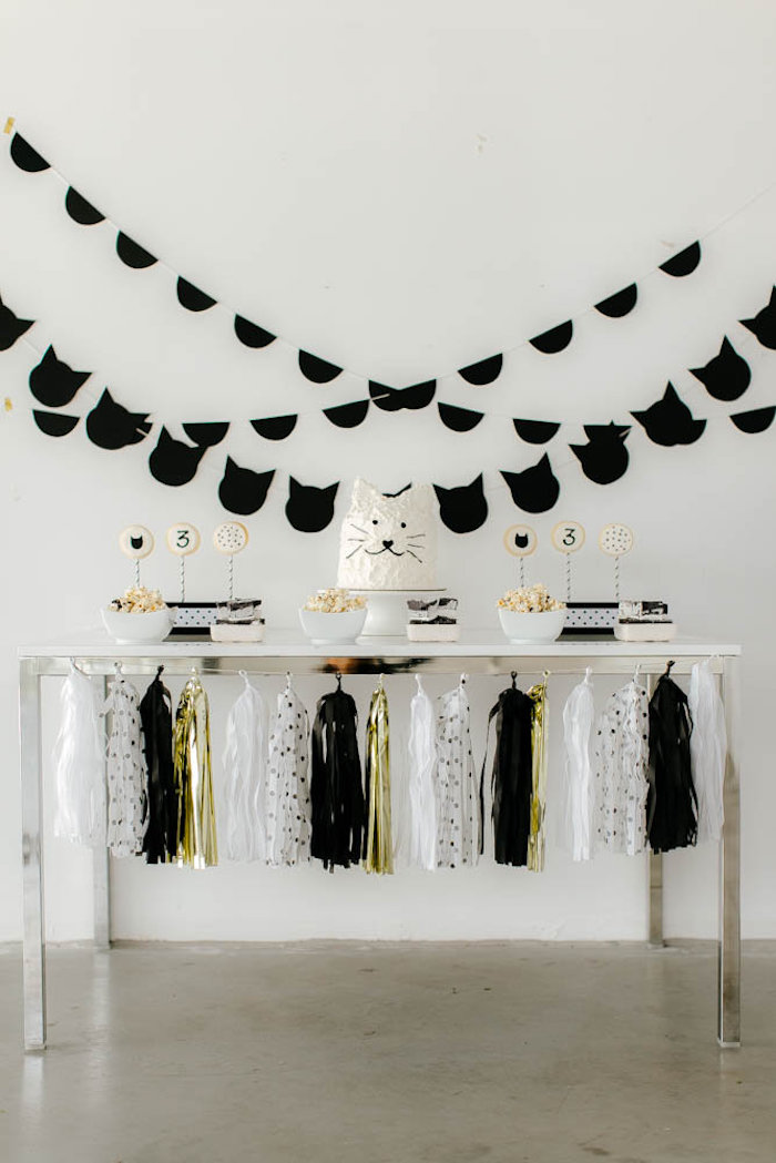 Black White Kitty Birthday Party On Karas Ideas