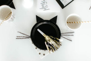 Kitty cat place setting from a Black & White Kitty Birthday Party on Kara's Party Ideas | KarasPartyIdeas.com (16)