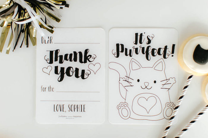 Kitty cat party signage + stationery from a Black & White Kitty Birthday Party on Kara's Party Ideas | KarasPartyIdeas.com (13)