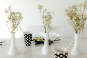Dried florals in white vases from a Black & White Kitty Birthday Party on Kara's Party Ideas | KarasPartyIdeas.com (12)