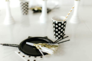 Polka dot place setting from a Black & White Kitty Birthday Party on Kara's Party Ideas | KarasPartyIdeas.com (11)