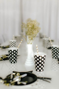 Guest tablescape from a Black & White Kitty Birthday Party on Kara's Party Ideas | KarasPartyIdeas.com (10)
