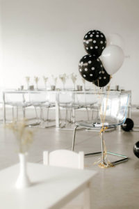 Black and white balloon bunch from a Black & White Kitty Birthday Party on Kara's Party Ideas | KarasPartyIdeas.com (6)
