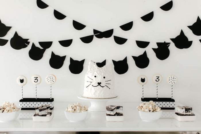 Kitty cat dessert spread from a Black & White Kitty Birthday Party on Kara's Party Ideas | KarasPartyIdeas.com (29)