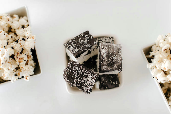 Monochromatic marshmallows from a Black & White Kitty Birthday Party on Kara's Party Ideas | KarasPartyIdeas.com (25)