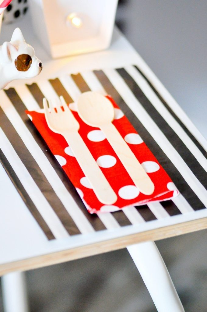Love the red, white and black! Modern French Bulldog and Friends dog birthday party by Karas Party Ideas | KarasPartyIdeas.com with FREE PRINTABLE PLACE CARDS, TAGS, BACKDROP, SIGNS AND MORE!