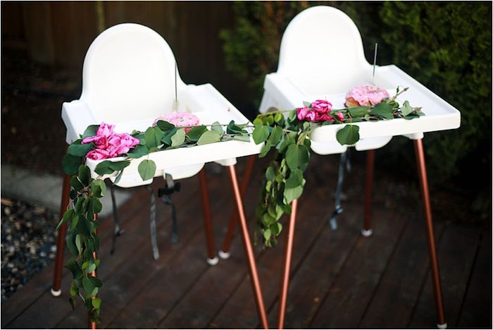 Highchairs adorned with greenery and roses from a Boho Wildflower Birthday Party for Twins on Kara's Party Ideas | KarasPartyIdeas.com (18)