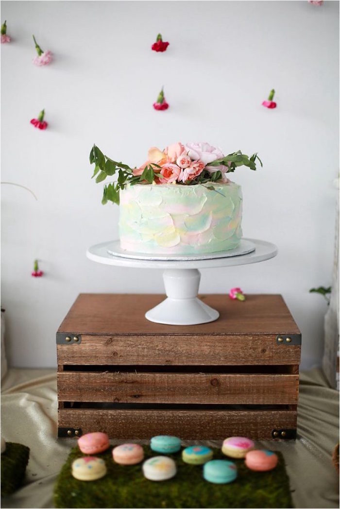 Pastel-colored cake from a Boho Wildflower Birthday Party for Twins on Kara's Party Ideas | KarasPartyIdeas.com (14)