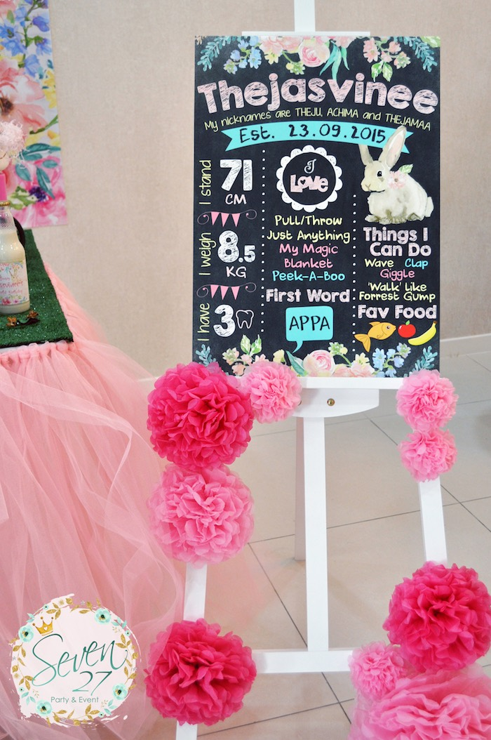Bunny chalkboard from a Bunnies in Springtime Birthday Party on Kara's Party Ideas | KarasPartyIdeas.com (15)