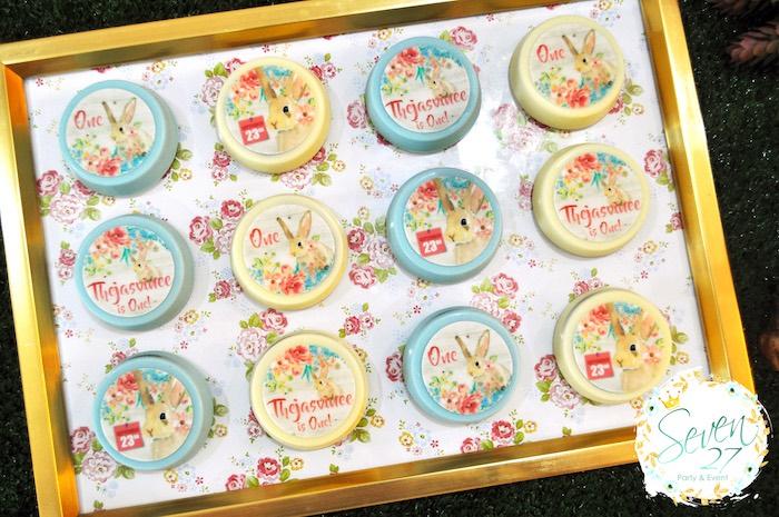 Bunny chocolate covered Oreos from a Bunnies in Springtime Birthday Party on Kara's Party Ideas | KarasPartyIdeas.com (14)