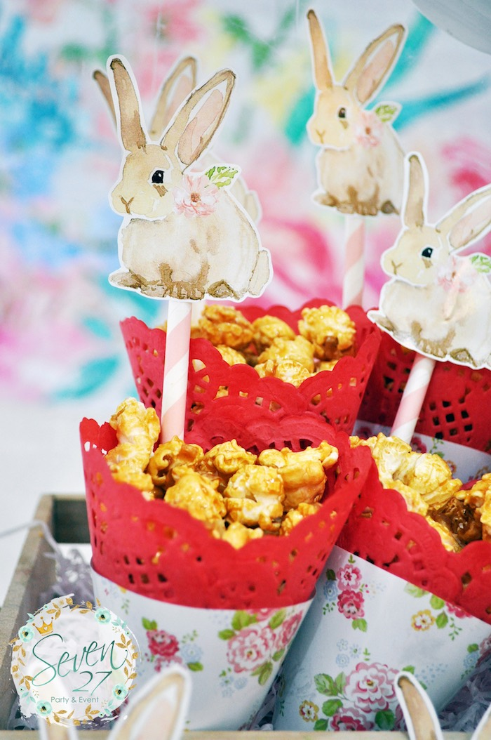 Bunny popcorn cones from a Bunnies in Springtime Birthday Party on Kara's Party Ideas | KarasPartyIdeas.com (13)