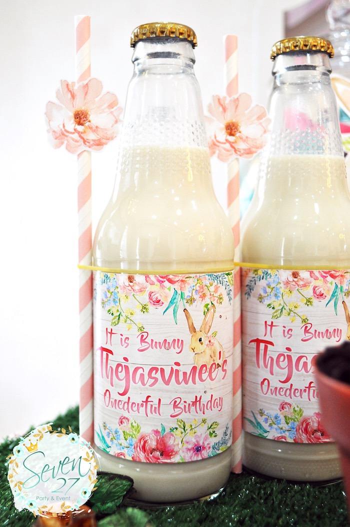 Milk bottles with custom floral labels from a Bunnies in Springtime Birthday Party on Kara's Party Ideas | KarasPartyIdeas.com (11)