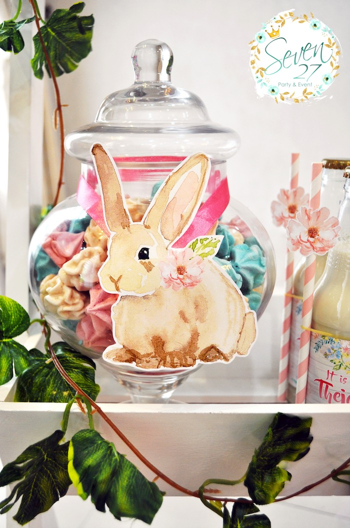 Bunny apothecary jar with meringue kisses from a Bunnies in Springtime Birthday Party on Kara's Party Ideas | KarasPartyIdeas.com (10)