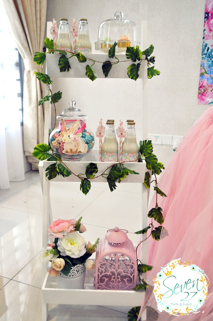 Favor shelf from a Bunnies in Springtime Birthday Party on Kara's Party Ideas | KarasPartyIdeas.com (9)
