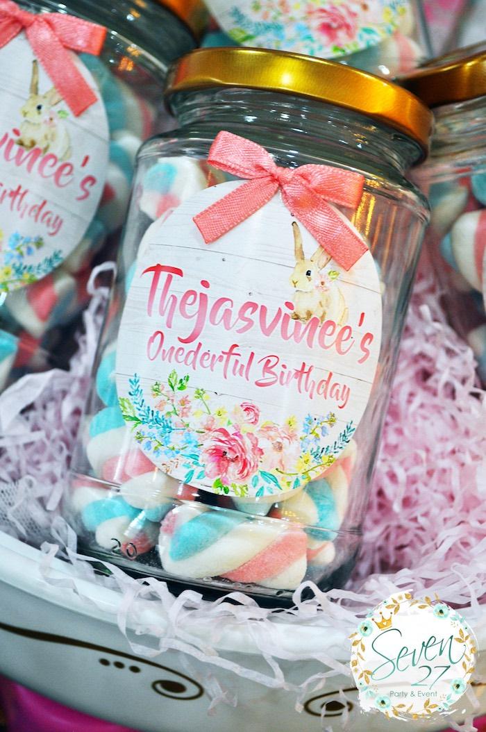 Favor jars full of marshmallow puff poles from a Bunnies in Springtime Birthday Party on Kara's Party Ideas | KarasPartyIdeas.com (8)