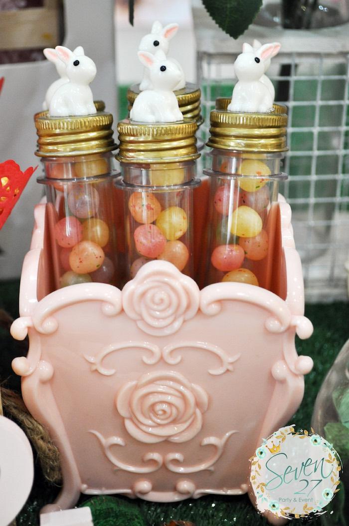 Bunny favor tubes from a Bunnies in Springtime Birthday Party on Kara's Party Ideas | KarasPartyIdeas.com (5)