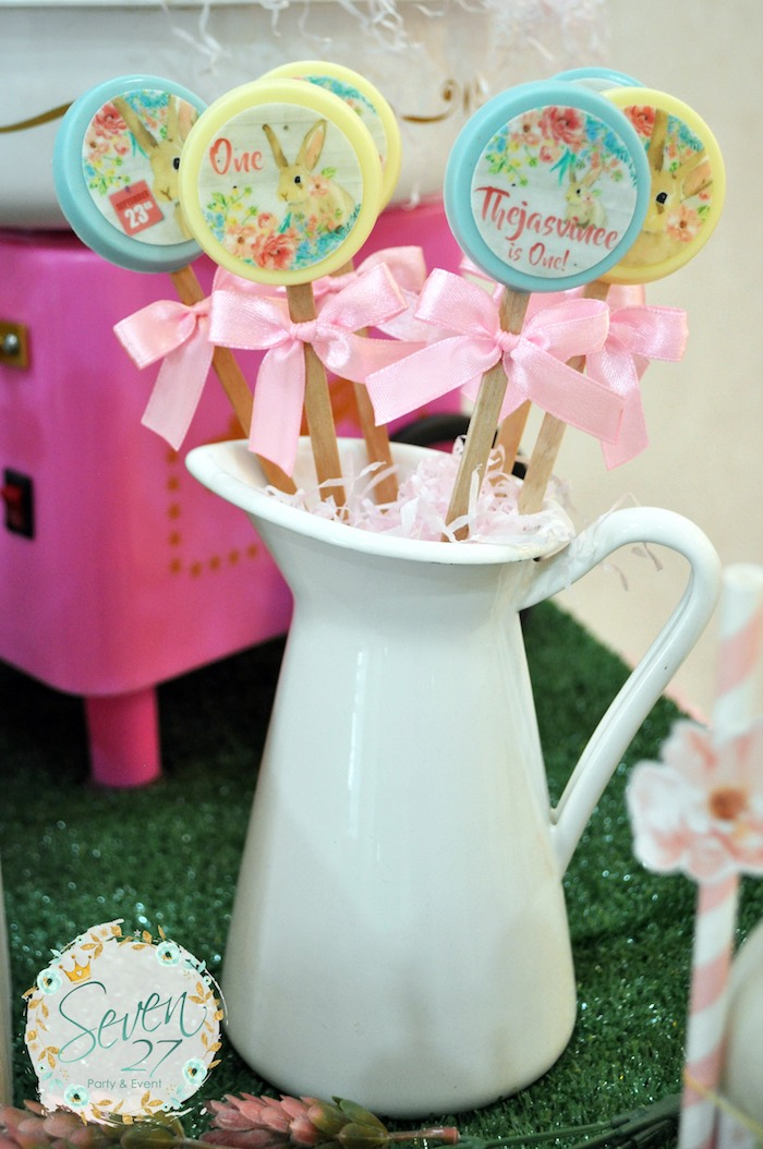 Chocolate pastel bunny printed lollipops from a Bunnies in Springtime Birthday Party on Kara's Party Ideas | KarasPartyIdeas.com (4)