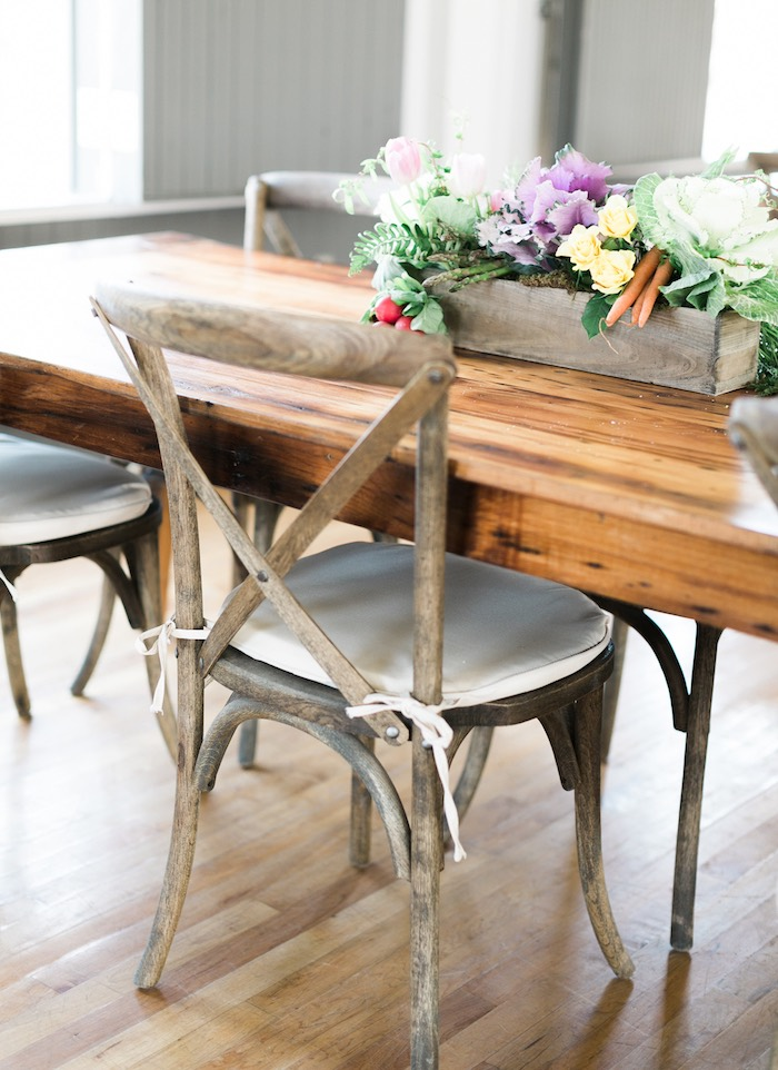 Rustic wooden guest table from a Celebrate Spring Party on Kara's Party Ideas | KarasPartyIdeas.com (44)