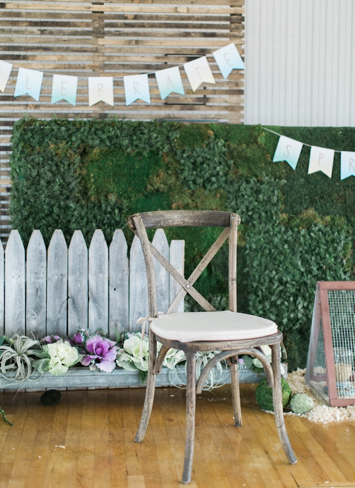 Rustic wooden chair from a Celebrate Spring Party on Kara's Party Ideas | KarasPartyIdeas.com (59)