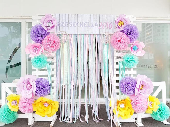 Floral Chic Photo Booth From A Coachella Music Arts Festival Inspired Birthday Party On Karas