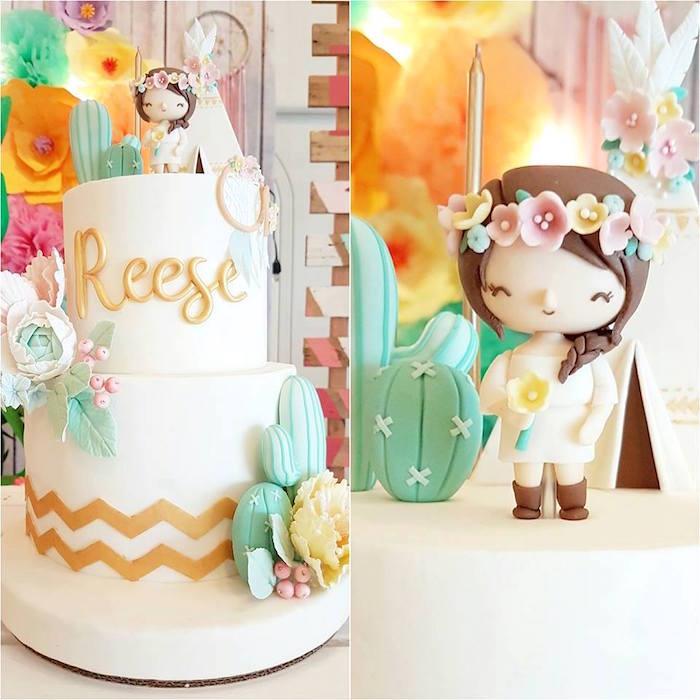 Boho cake from a Coachella Music & Arts Festival Inspired Birthday Party on Kara's Party Ideas | KarasPartyIdeas.com (9)