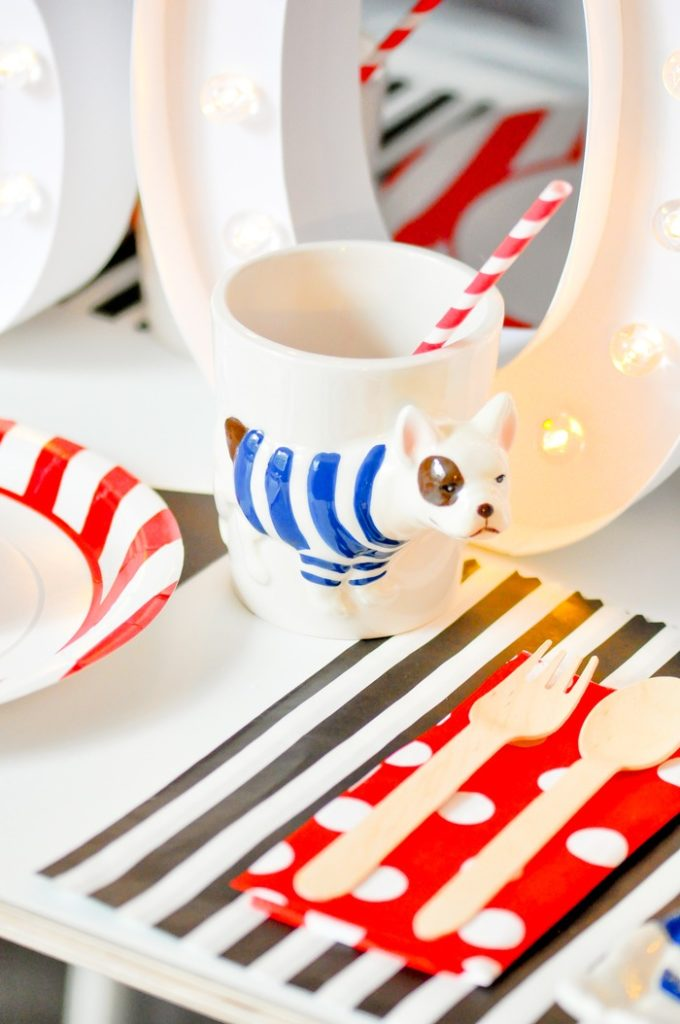CUTE DOG MUG! Modern French Bulldog and Friends dog birthday party by Karas Party Ideas | KarasPartyIdeas.com with FREE PRINTABLE PLACE CARDS, TAGS, BACKDROP, SIGNS AND MORE!