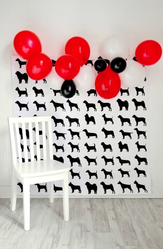 FREE printable doggy party photo backdrop! Modern French Bulldog and Friends dog birthday party by Karas Party Ideas | KarasPartyIdeas.com with FREE PRINTABLE PLACE CARDS, TAGS, BACKDROP, SIGNS AND MORE!