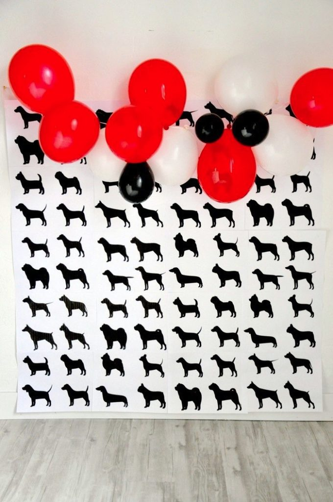 FREE printable doggy party photo booth backdrop! Modern French Bulldog and Friends dog birthday party by Karas Party Ideas | KarasPartyIdeas.com with FREE PRINTABLE PLACE CARDS, TAGS, BACKDROP, SIGNS AND MORE!