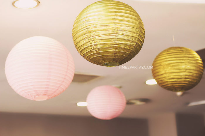 Hanging gold + pink paper lanterns from a Floral Greek Bridal Shower on Kara's Party Ideas | KarasPartyIdeas.com (20)