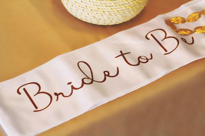 Bridal sash from a Floral Greek Bridal Shower on Kara's Party Ideas | KarasPartyIdeas.com (14)
