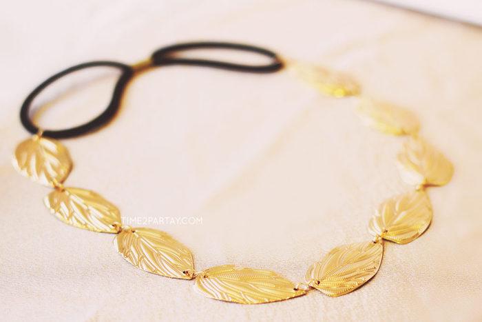 Gold leaf headband from a Floral Greek Bridal Shower on Kara's Party Ideas | KarasPartyIdeas.com (13)
