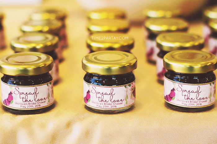 Jam jars from a Floral Greek Bridal Shower on Kara's Party Ideas | KarasPartyIdeas.com (6)