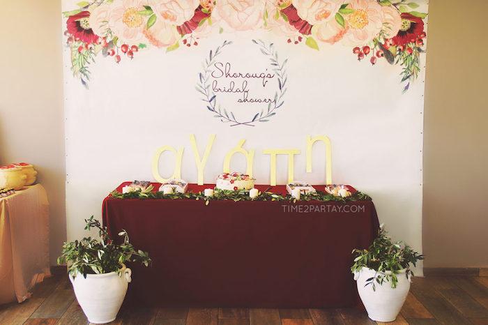 Dessert table from a Floral Greek Bridal Shower on Kara's Party Ideas | KarasPartyIdeas.com (4)