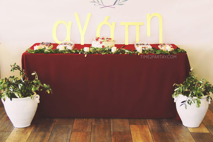Dessert table from a Floral Greek Bridal Shower on Kara's Party Ideas | KarasPartyIdeas.com (29)