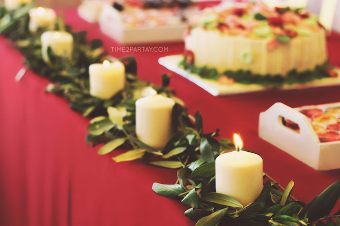 Leaf + candle garland from a Floral Greek Bridal Shower on Kara's Party Ideas | KarasPartyIdeas.com (28)