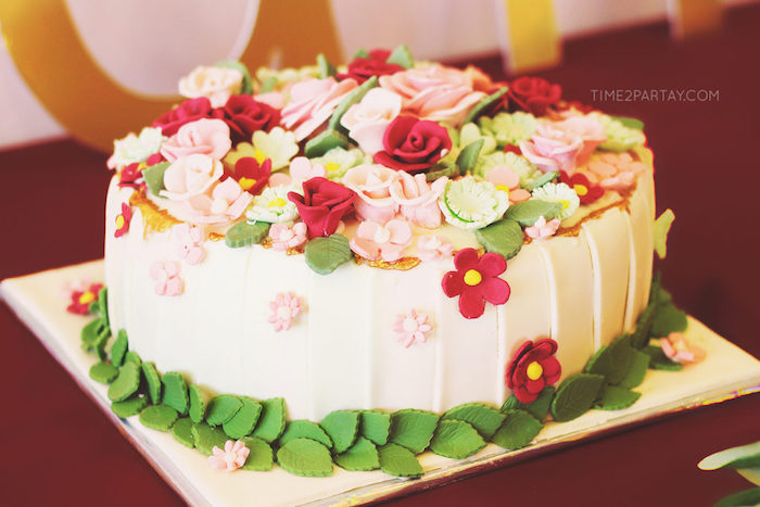 Fondant flower-topped cake from a Floral Greek Bridal Shower on Kara's Party Ideas | KarasPartyIdeas.com (26)