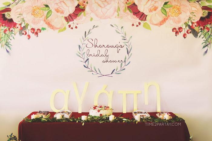 Greek themed dessert table from a Floral Greek Bridal Shower on Kara's Party Ideas | KarasPartyIdeas.com (23)