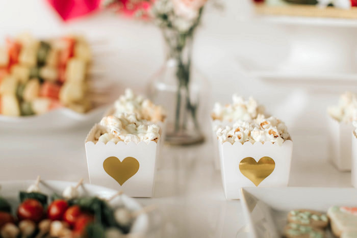 Gold heart popcorn boxes from a Floral Love Baby Shower on Kara's Party Ideas | KarasPartyIdeas.com (23)