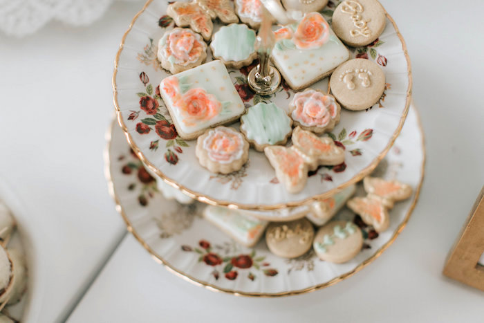 Sugar cookies from a Floral Love Baby Shower on Kara's Party Ideas | KarasPartyIdeas.com (20)