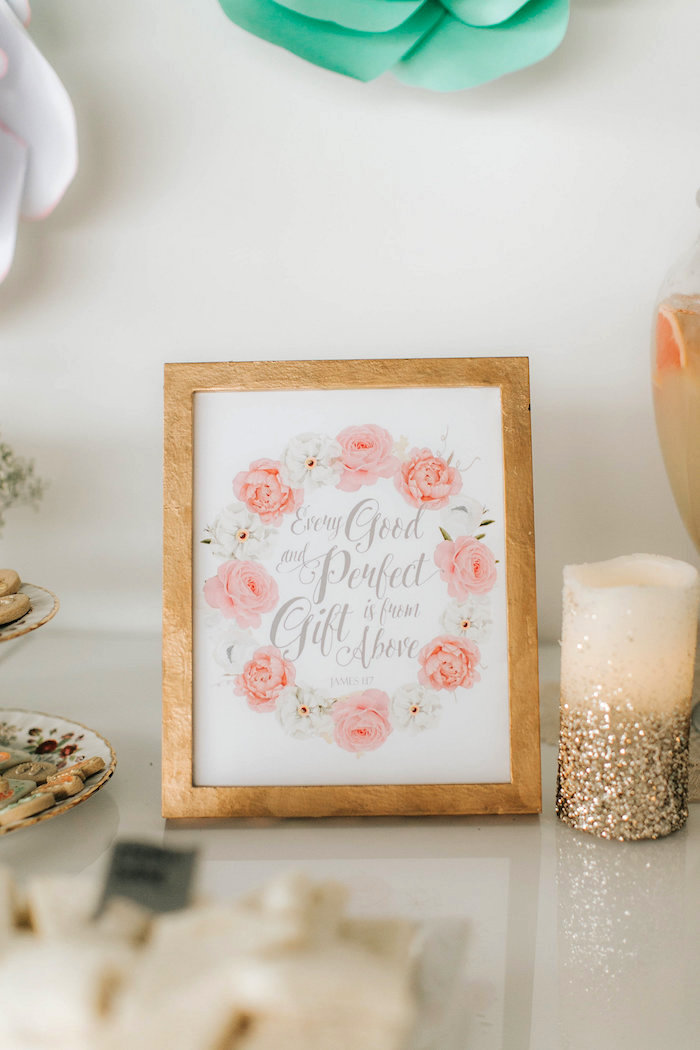 Floral printed sign from a Floral Love Baby Shower on Kara's Party Ideas | KarasPartyIdeas.com (19)