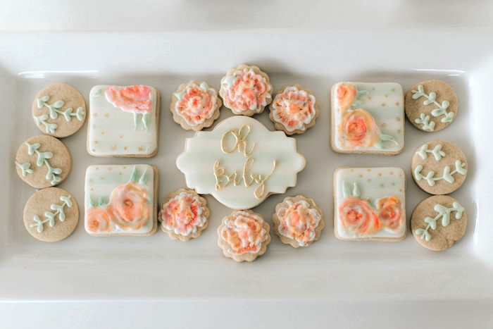 Floral cookies from a Floral Love Baby Shower on Kara's Party Ideas | KarasPartyIdeas.com (17)