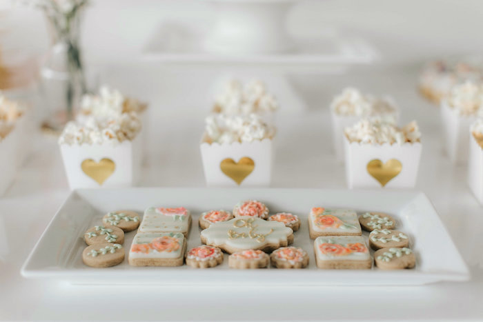 Cookies and popcorn from a Floral Love Baby Shower on Kara's Party Ideas | KarasPartyIdeas.com (16)