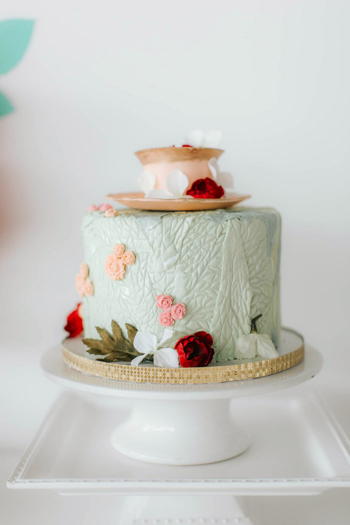 Floral cake with fondant tea cup from a Floral Love Baby Shower on Kara's Party Ideas | KarasPartyIdeas.com (15)