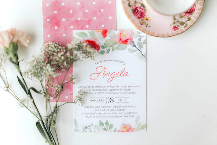 Floral invitation from a Floral Love Baby Shower on Kara's Party Ideas | KarasPartyIdeas.com (6)