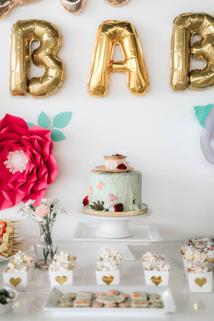 Cakescape from a Floral Love Baby Shower on Kara's Party Ideas | KarasPartyIdeas.com (4)