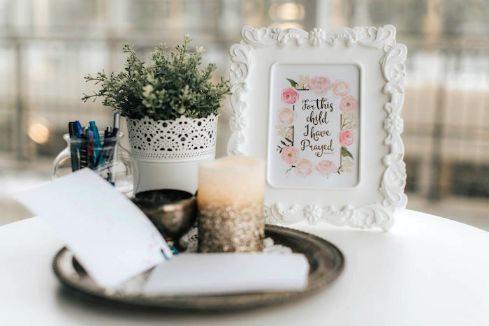 Signing table from a Floral Love Baby Shower on Kara's Party Ideas | KarasPartyIdeas.com (29)